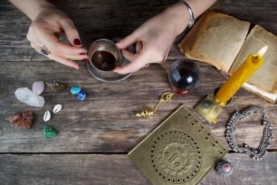 table full of spiritual tools